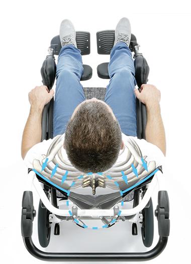 特殊構造のV字型背シート 体幹の安定と脊柱の負担を抑えます。