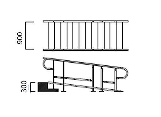 手すり付き大型スロープ 組上げ例3