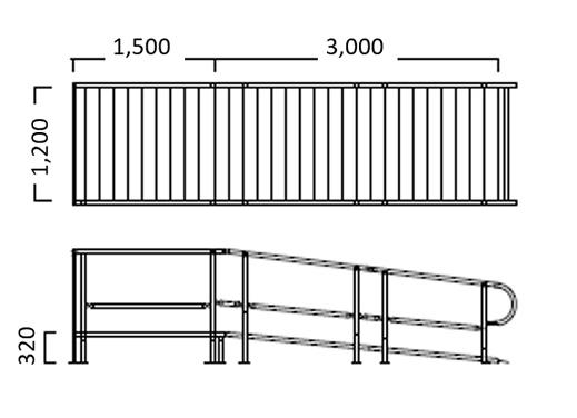 手すり付き大型スロープ 組上げ例2