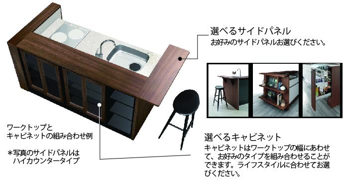 キャビネットと組み合わせてキッチンの柔軟な設置が可能